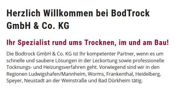 Bautrocknung aus  Schwegenheim, Westheim (Pfalz), Weingarten (Pfalz), Lingenfeld, Gommersheim, Hanhofen, Römerberg und Harthausen, Freisbach, Lustadt