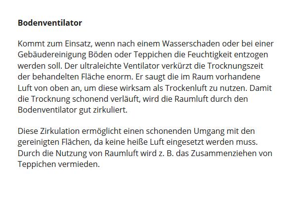 Fussbodentrockner für 67482 Altdorf