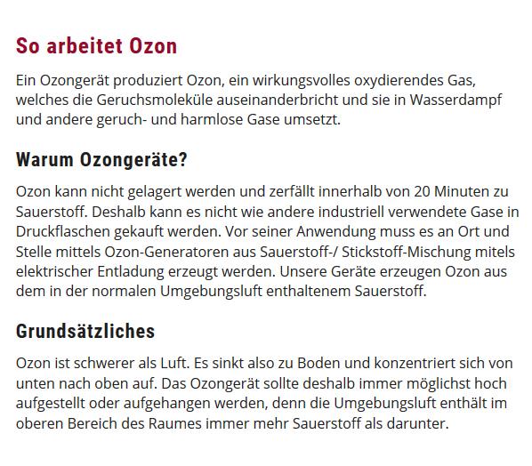 Ozongeräte für  Zeiskam