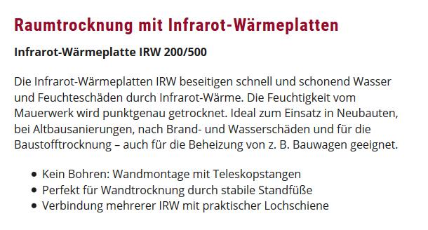 Raumtrocknung Infrarot-Wärmeplatten für  Zeiskam
