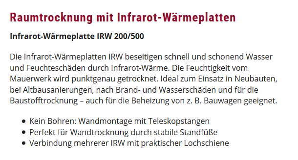 Raumtrocknung Infrarot-Wärmeplatten