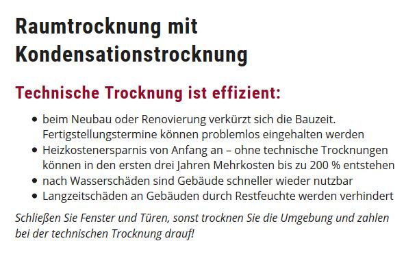 Raumtrocknung in  Brühl