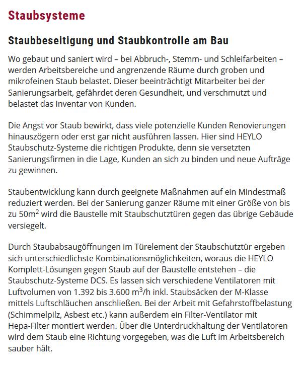Staubsysteme Staubbeseitung in  Schwetzingen